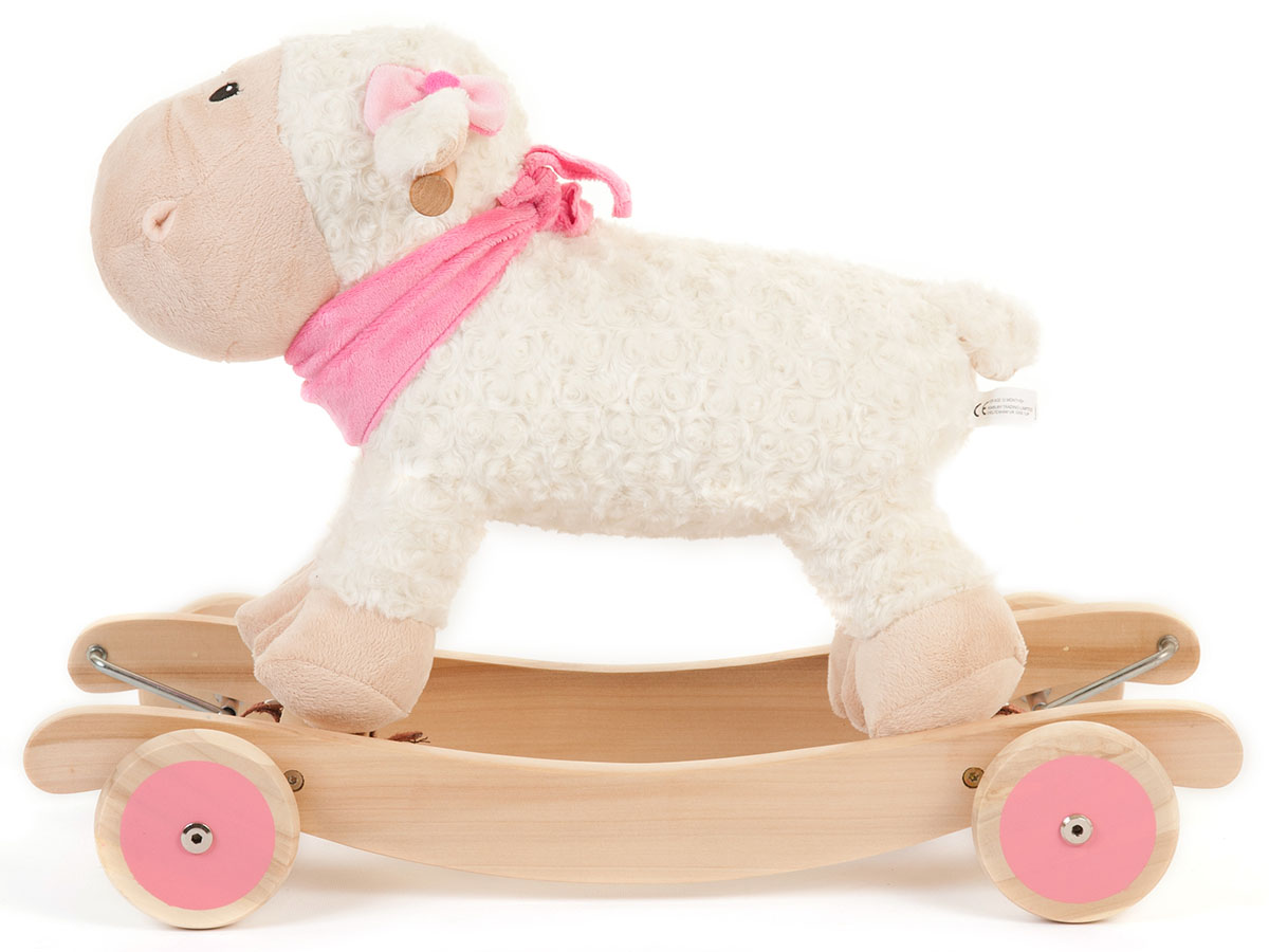 Wooden Toy Parts Catalog : Kids white wooden rocking sheep ride on rocker toy