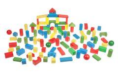 Children's Set of 100 Wooden Building Blocks