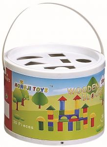 Children's Set of 30 Small Wooden Building Blocks