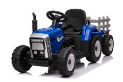 Blue R/C Twin Motor Tractor & Trailer - 12V Kids' Electric Ride On