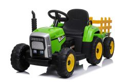 Green R/C Twin Motor Tractor & Trailer - 12V Kids' Electric Ride On